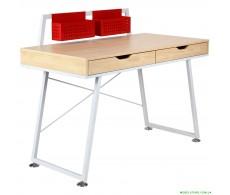 Компьютерный стол Gogol белый+красный/клен