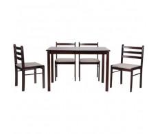 Комплект обеденный Брауни (стол+4 стула) светлый шоколад/латте